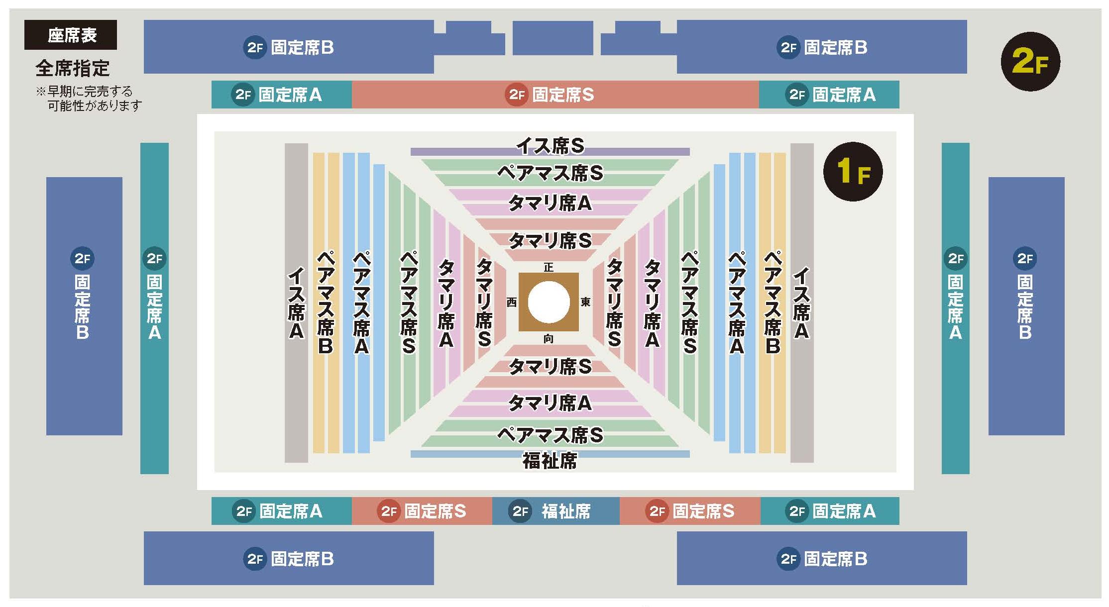 大相撲巡業越谷場所の席割りと座席表